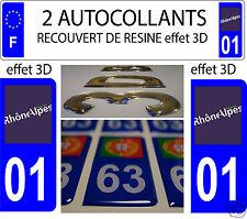 2 STICKER RECOUVERT DE RESINE PLAQUE IMMATRICULATION RHONE ALPES HAUTE AIN 01