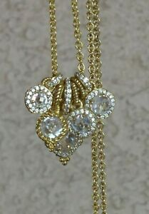 """Judith Ripka Gold Clad Sterling Diamonique Charm Necklace 16"""" or 18"""" L"""
