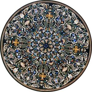 """48"""" Marble Dining round black Table Top marquetry Pietra Dura Inlay Work"""