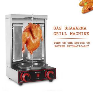 LPG Vertical Gyros Rotisserie Grill BBQ Kebab Shawarma Oven Chicken Spit Roaster