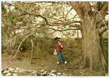 Vintage 80s PHOTO Little Girl on Big Tree Rope Swing