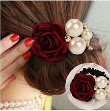 RED Elastic Spanish Pearls Rose Flower HairBand Scrunchie Ponytail Holder Bands
