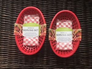 Charcoal Companion Plastic Serving Baskets and Liners Set of 4 (2 Pack), Red