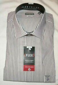 NEW VAN HEUSEN FLEX MENS LS DRESS SHIRT SZ 18 35/36 WHITE,GRAY,RED STRIPE RET$60