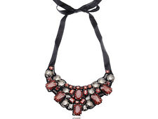 Fshion Topaz Red Brown Morion Tribal Bib Ribbon Collar Necklace Party Collar New