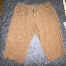 Erin London Leaf Capri Pants Size 3x Drawstring Waist W Elastic Womens