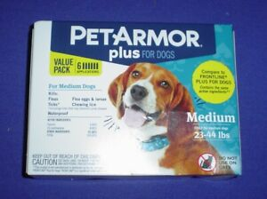Pet Armor Plus Flea and Tick Prevention for Medium Dogs 23-44 lbs 6 applications