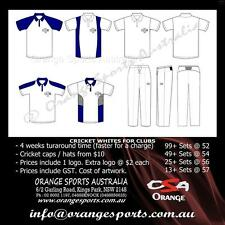 25 Sets Of Custom Cricket White Pants and Shirts with your Club Logo. 4 weeks