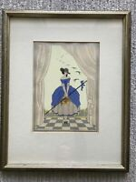 "FRENCH FASHION POCHOIR Art Deco Modernist ""SPRING"" Signed SAINTMAURICE 20s 30s"
