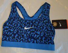 BNWT WOMEN'S Nike Dri-Fit Blu/Nero Supporto Medio Trainning Reggiseno Sportivo XS