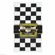BLACK & WHITE CHECKERED TABLE COVER CAR RACING ROCK & ROLL ALICE IN WONDERLAND