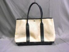 Authentic HERMES Ivory*Black Garden Party PM Toile H*Leather Tote Bag Square F