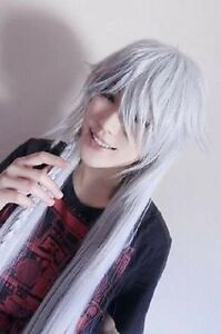 Black Butler Kuroshitsuji Undertaker Cosplay silvery white long Wigs 40'' 100cm