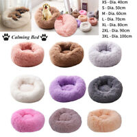 Pet Dog Cat Calming Bed Warm Plush Round Nest Comfy Sleeping Kennel Cave UK
