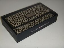 TOMMY HILFIGER Women's Signature Wallet Khaki Black Canvas TH Silver Logo + BOX