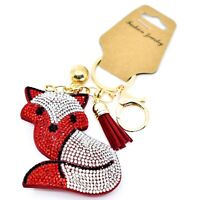 Pave Crystal Accent 3D Stuffed Pillow Red Fox Keychain Key Chain New w Tag