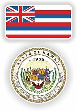 HAWAII State Flag + SEAL 2 bumper stickers decals USA