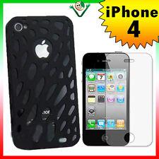 Pellicola + Custodia RIGIDA SPIDER cover traforata NERA per iPhone 4 4G leggera