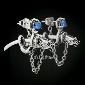 925 Sterling Silver Blue CZ Dragon Japanese katana Mens Biker Stud Earring 8M109