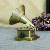 Metal Retro Phonograph Model Vintage Record Player Props Antique Gramophone Home