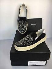 SL Saint Laurent Paris Flat Heel Sneaker Leather Metallic studs 34