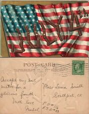 JULY 4th GREETINGS 1909 EMBOSSED ANTIQUE POSTCARD w/ AMERICAN FLAG