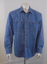 Denver Hayes Large   Denim Cotton Long Sleeve Blue Jean  Shirt