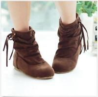Women's College Flat Heels Ankle Boots Tassels Fringe Faux Suede Shoes Solid New