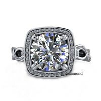 2.44 Ct Near White Moissanite Engagement Wedding Ring 925 Sterling Silver Size 8