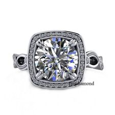 Ring 925 Sterling Silver Size 8 2.44 Ct Near White Moissanite Engagement Wedding