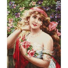 Gobelin Needlepoint Tapestry embroidery Kit Girl with roses Luca-S Petit point