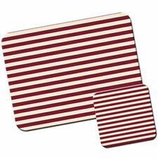 Maroon & Beige Horizontal Stripes Mouse Mat / Pad and Coaster Set