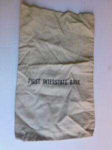 Vintage FIRST INTERSTATE CANVAS MONEY BAG