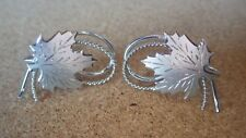 VINTAGE SIGNED DCJ STERLING SILVER CANADIAN MAPLE LEAF EARRINGS FREE SHIPPING