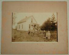 VINTAGE PHOTO HOUSE HORSE CHILDREN MAN McKEE WINTERSET IOWA IA