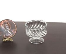 Dollhouse Miniature Artisan Clear Glass Swirled Bowl by Philip Grenyer