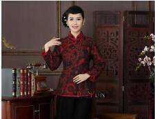 New red chinese women's evening long sleeves Top T-shirt blouse cheongsam 10-18