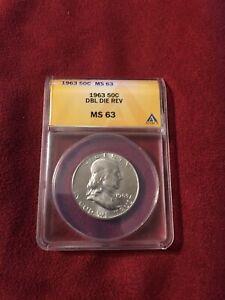 1963 franklin half dollar Double Die Mint Error MS63