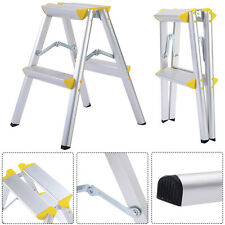 New 2 Step Aluminum Ladder Folding Platform Work Stool 330 lbs Load Capacity