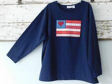 Fashion Bug Women's 22/24 Blue Patriotic Heart Flag LS Pullover Sweatshirt Tunic