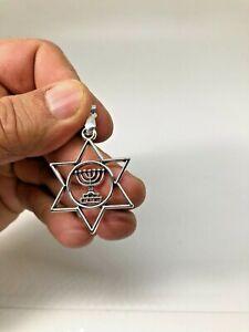 Judaica star of David Menorah pendant