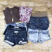 American Eagle Abercrombie RSQ Rue 21 Almost Famous Shorts Top Lot 00 0 1 2 XS