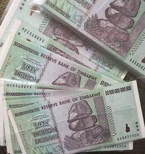 5 x Zimbabwe 50  Trillion Dollars, Uncirculated ,100 Trillion Series AA/2008