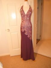 Designer Nurielle Haute Couture Swarovski Crystal Plum Evening Dress Size 8-12