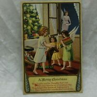 Vintage Embossed Postcard A Merry Christmas Greeting Poem Angels Motif 1912