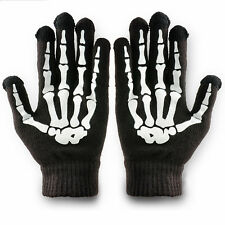 Women/Men Winter Skeleton Bones Phone Tablet Touch Screen Knitted Warm Gloves