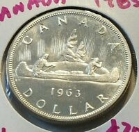 CANADA $1 DOLLAR 1963 ELIZABETH I I SILVER COIN