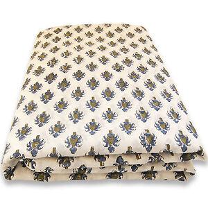 Jaipuri Sanganeri Print Indian White Hand Block Printed Cotton Fabric 5 yards