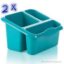 2 x Cutlery Drainer Blue Washing Up Rack Kitchen Drainer Sink Tidy Storage Tub