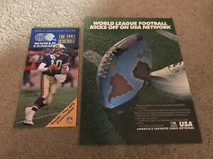 RARE 1992 WORLD LEAGUE FOOTBALL Poster Print Ad & SCHEDULE STAN GELBAUGH 1990s